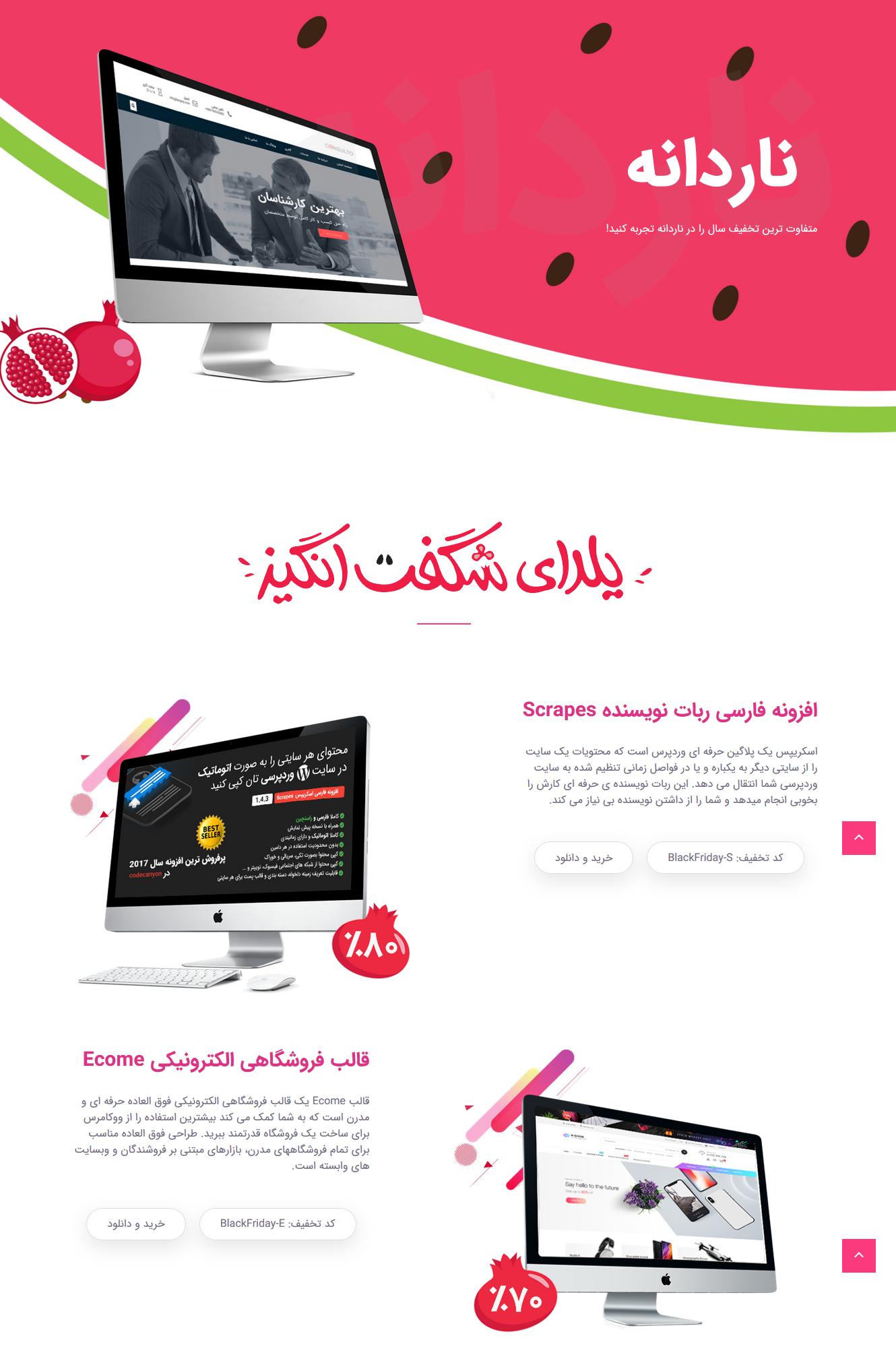 قالب HTML لندینگ پیج ناردانه به مناسبت جشنواره یلدا